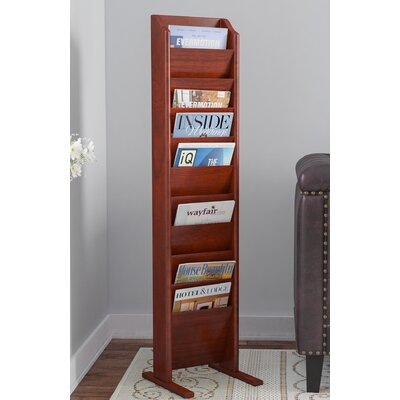 Delia 10 Pocket Free Standing Magazine Rack Wood Color: Dark Red Mahogany