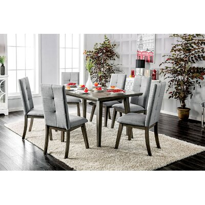 Yesenia 7 Piece Dining Set Chair Color: Gray, Table Color: Gray