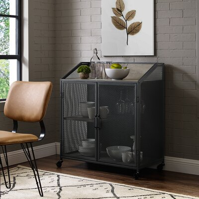 Bowles Bar Cabinet with Mesh Color: Gray Wash