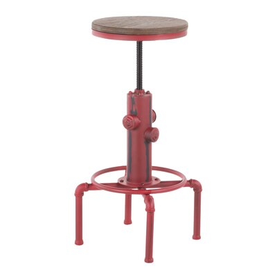 Carmona Adjustable Height Swivel Bar Stool Color: Red