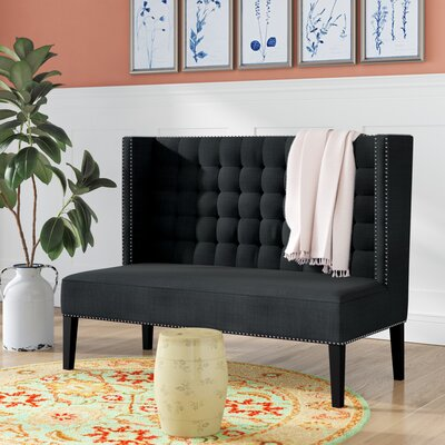 Aldford Upholstered Bench Color: Dark Charcoal Gray