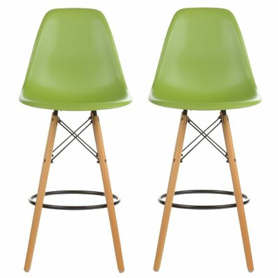 "Siple Mid-Century Modern Retro 26.5"" Bar Stool Color: Green"