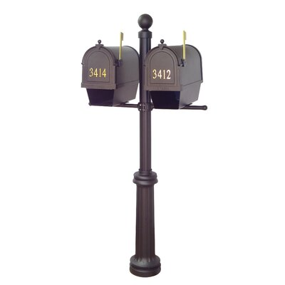 Berkshire Curbside Mailboxes with Fresno Double Mount Post Included