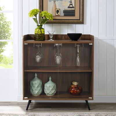 Octavio Glass Door Bar Cabinet Color: Dark Walnut