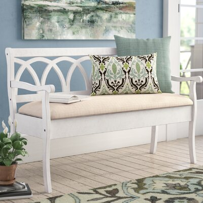 Rome Wood Storage Bench Color: Antique White