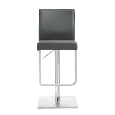Carly Adjustable Height Swivel Bar Stool Upholstery: Gray
