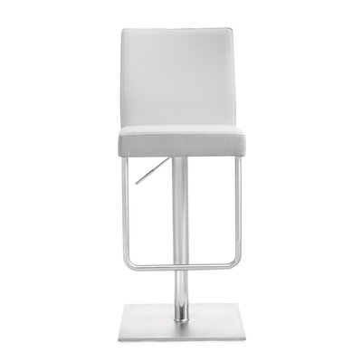 Carly Adjustable Height Swivel Bar Stool Upholstery: White