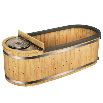 Natural Pine Hot Tub with Charcoal Stove