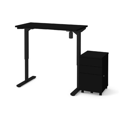 Tanya 2 Piece Electric Height Adjustable Desk Office Suite Color: Black