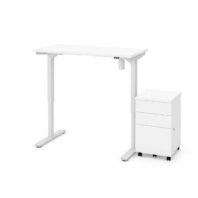 Tanya 2 Piece Electric Height Adjustable Desk Office Suite Color: White