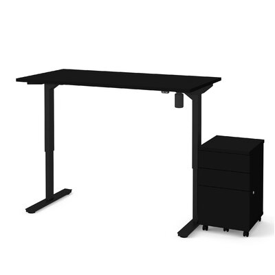 Lilian 2-Piece Electric Height Adjustable Desk Office Suite Color: Black