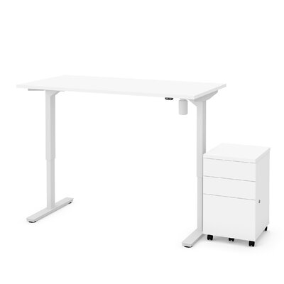 Lilian 2-Piece Electric Height Adjustable Desk Office Suite Color: White