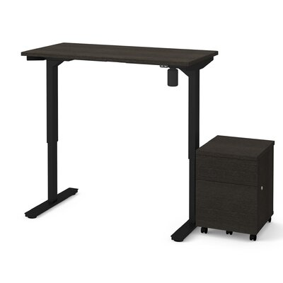 Clare 2-Piece Electric Height Adjustable Desk Office Suite Color: Deep Gray