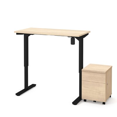 Clare 2-Piece Electric Height Adjustable Desk Office Suite Color: Maple