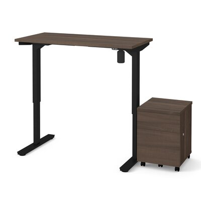 Clare 2-Piece Electric Height Adjustable Desk Office Suite Color: Antigua