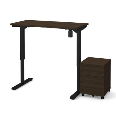 Clare 2-Piece Electric Height Adjustable Desk Office Suite Color: Dark Chocolate