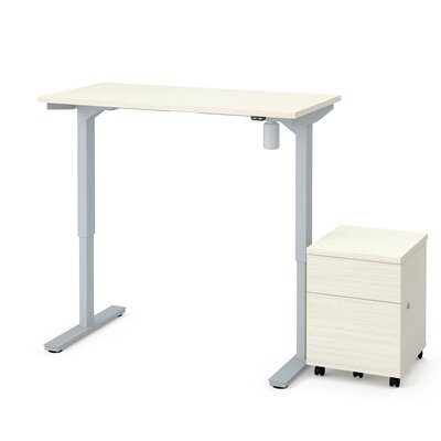 Clare 2-Piece Electric Height Adjustable Desk Office Suite Color: White Chocolate