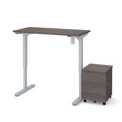 Clare 2-Piece Electric Height Adjustable Desk Office Suite Color: Bark Gray