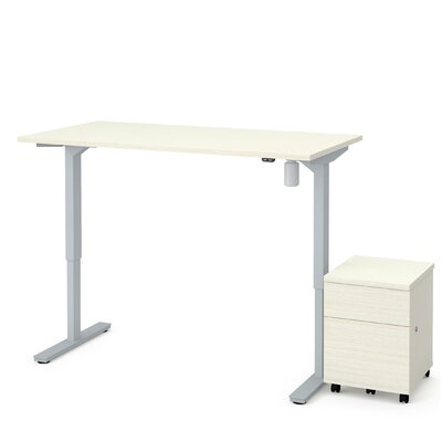 Brisa 2 Piece Electric Height Adjustable Desk Office Suite Color: White Chocolate