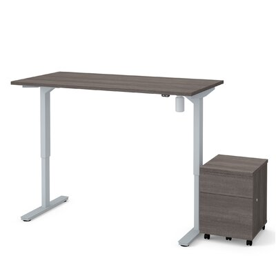 Brisa 2 Piece Electric Height Adjustable Desk Office Suite Color: Bark Gray