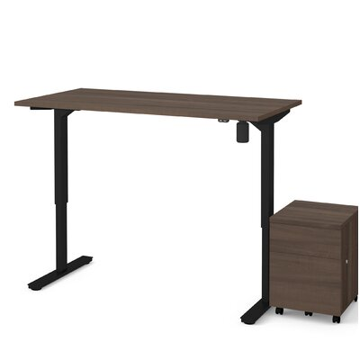 Brisa 2 Piece Electric Height Adjustable Desk Office Suite Color: Antigua