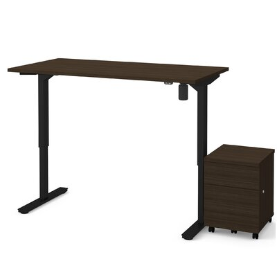 Brisa 2 Piece Electric Height Adjustable Desk Office Suite Color: Dark Chocolate