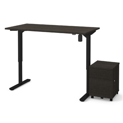 Brisa 2 Piece Electric Height Adjustable Desk Office Suite Color: Deep Gray