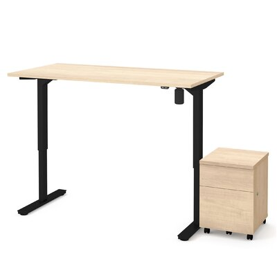 Brisa 2 Piece Electric Height Adjustable Desk Office Suite Color: Maple