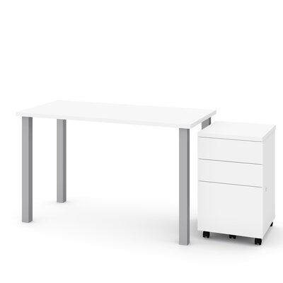 Liberty 2 Piece Desk Office Suite Color: White