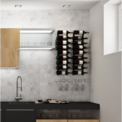 Wall Series Contemporary Wet Bar 18 Bottle Wall Mounted Wine Rack Finish: Satin Black