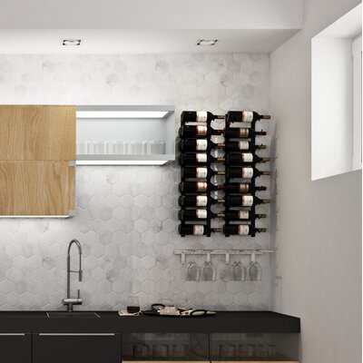 Wall Series Contemporary Wet Bar 18 Bottle Wall Mounted Wine Rack Finish: Chrome