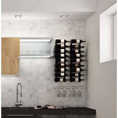 Wall Series Contemporary Wet Bar 52 Bottle Wall Mounted Wine Rack Finish: Brushed Nickel