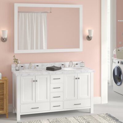 "Marine 61"" Double Bathroom Vanity Set with Mirror Base Finish: White"