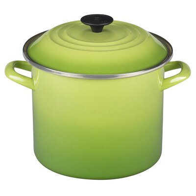 Enamel On Steel Stock Pot with Lid Color: Palm, Size: 8 Qt.