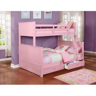 Lynne Twin Over Full Bunk Bed with Drawers Color: Pink