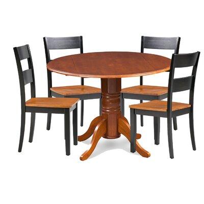 Cordell 5 Piece Drop Leaf Breakfast Nook Dining Set Chair Color: Black
