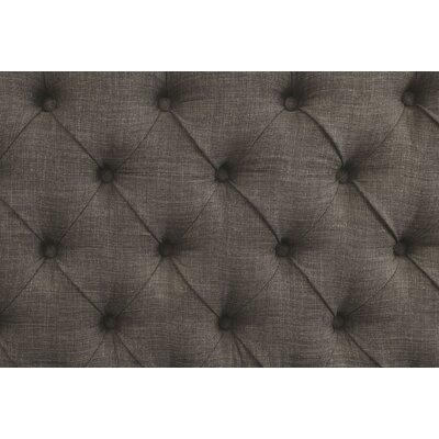 Meda Tufted High Back 2-Seater Love Seat Upholstered Bench Nailhead Detail: Gold, Upholstery: Gray