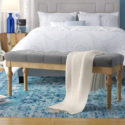 Brockwell Button Tufted Wood Bench Color: Gray