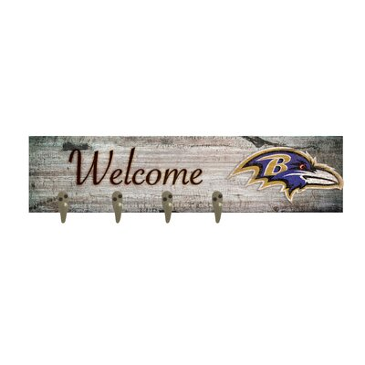 Wall Mounted Coat Rack NFL Team: Baltimore Ravens