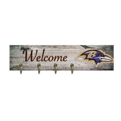 Wall Mounted Coat Rack NFL Team: Baltimore Ravens