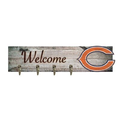 Wall Mounted Coat Rack NFL Team: Chicago Bears