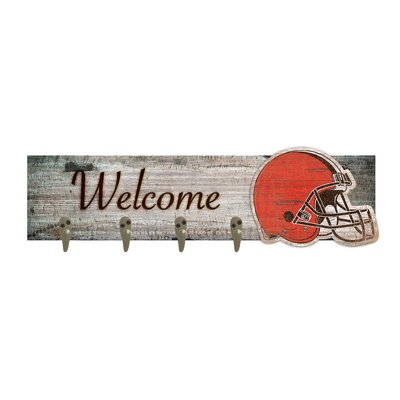 Wall Mounted Coat Rack NFL Team: Cleveland Browns