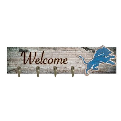 Wall Mounted Coat Rack NFL Team: Detroit Lions