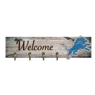 Wall Mounted Coat Rack NFL Team: Detroit Lions