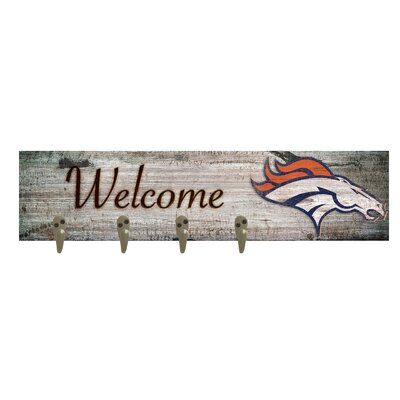 Wall Mounted Coat Rack NFL Team: Dever Broncos