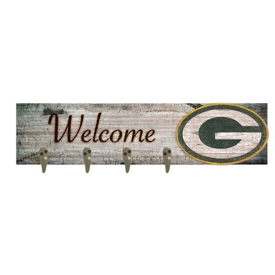 Wall Mounted Coat Rack NFL Team: Green Bay Packers