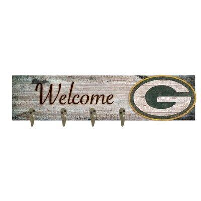 Wall Mounted Coat Rack NFL Team: Green Bay Packers