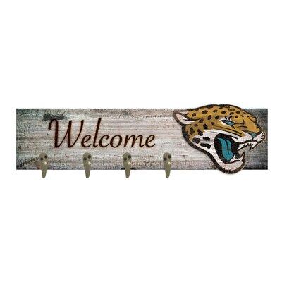 Wall Mounted Coat Rack NFL Team: Jacksonville Jaguars