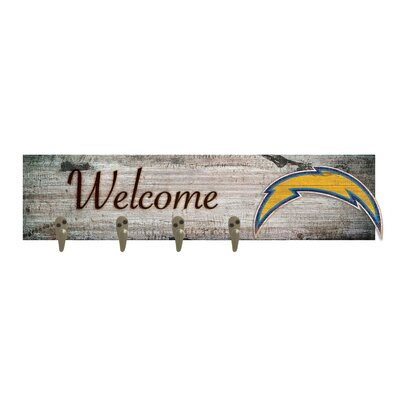 Wall Mounted Coat Rack NFL Team: Los Angeles Chargers