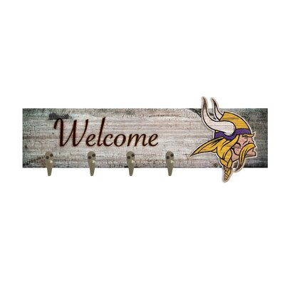 Wall Mounted Coat Rack NFL Team: Minnesota Vikings